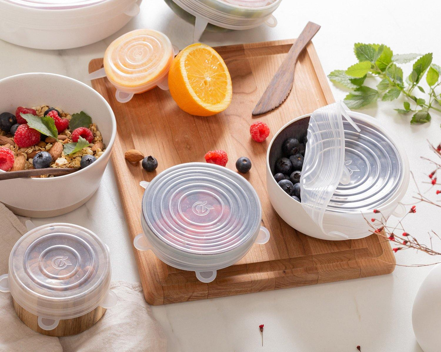 ROUND SILICONE LIDS | SET OF 6 | CLEAR - Planet E
