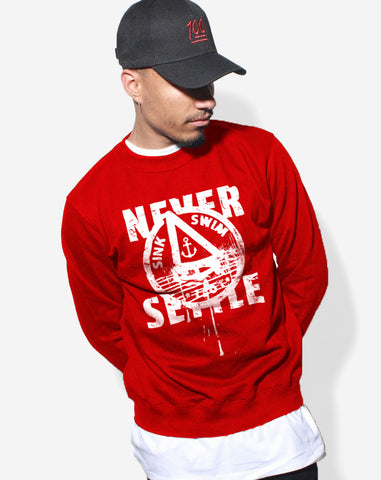 Never Settle Crewneck Sweater (Red)
