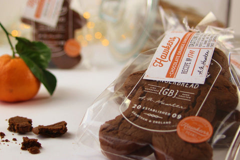 Hawkens gingerbread chocolate orange product on display