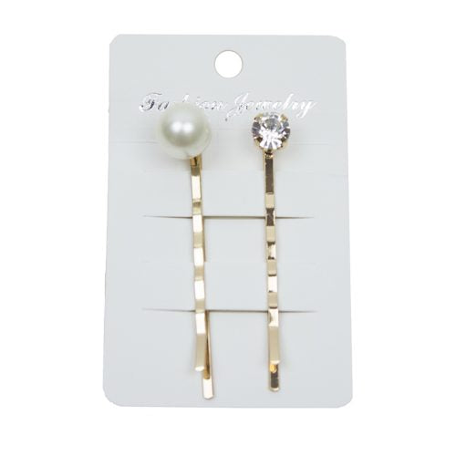 Hair Pin - Pearl Crystal set of 2