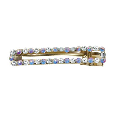 Hair Clip - Rectangle Iridescent Stone