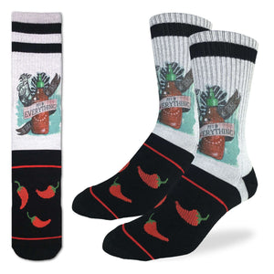 Crew length light grey and black socks featuring Hoy Fung Sriracha bottle, rooster and hot peppers