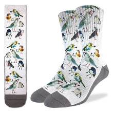 Crew length white and grey socks with birds doing funny hand signals