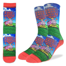 Crew length bright red socks with a cartoon train and a speach bubble saying I choo-choo-choose you