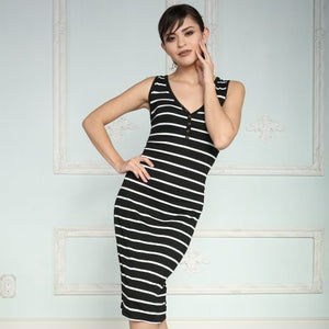 Dress- Black & White Striped Tank