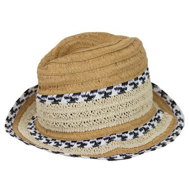 Hat - Trilby Sand with Woven Design