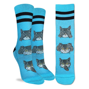Crew length bue socks with cat image covering eyes, covering ears and covering mouth