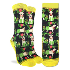 Crew length black and yellow socks with labrador retrievers wearing hawaiian theamed outfits