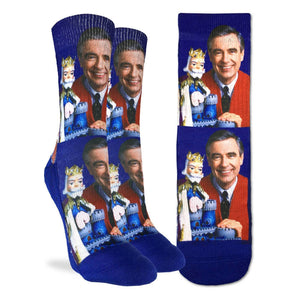 Crew length blue socks with 2 images of Mr. Rogers and a puppet