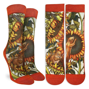 Crew length orange socks with pictures of sunflowers and chipmunks eating sunflower seeds