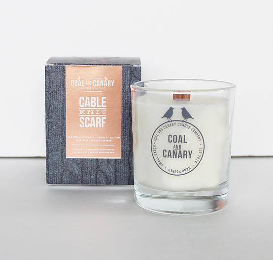 Coal and Canary Candle-Cable knit scarf