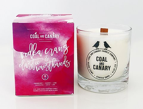 Coal and Canary Candle-Vodka crans & elastic waistbands