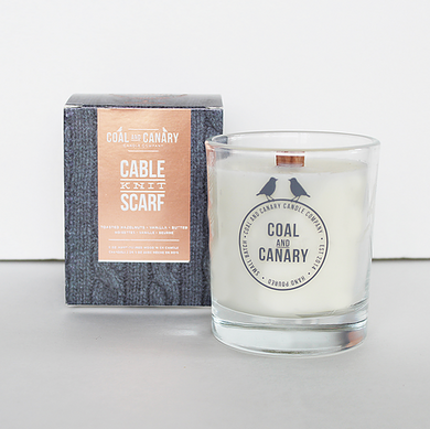 Coal and Canary Candles-Cable knit scarf 16oz