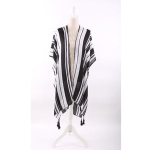 Cover Up - Open Caftan Black Striped Print