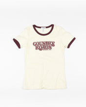 Country Roads Ringer T-Shirt Natural + Maroon