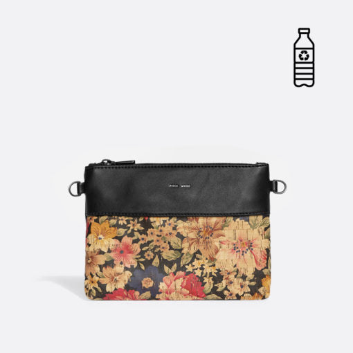 Pixie Mood Nicola Large Pouch - Black Dark Floral Cork