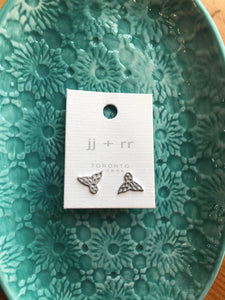 Origami Whale Stud Earrings - Silver