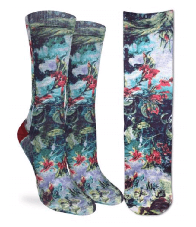 Crew length blue socks with red flowers and lots of foilage