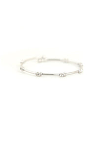 Gemini Crystal Bangle - Silver