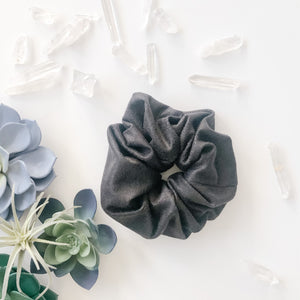 Black Suede Scrunchie with Crystals