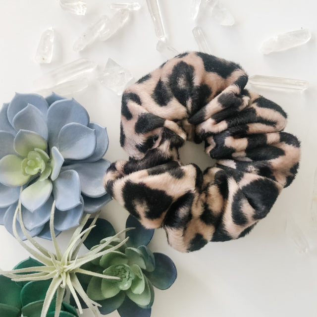 Leopard Scrunchie with Crystals