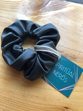 Black Vegan Leather Scrunchie with Crystals