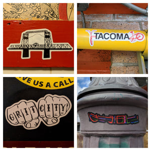 Tacoma stickers 4-pack: Bridge, bike, knuckles, and neon!