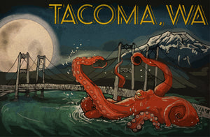 Tacoma Narrows Bridge Octopus Poster
