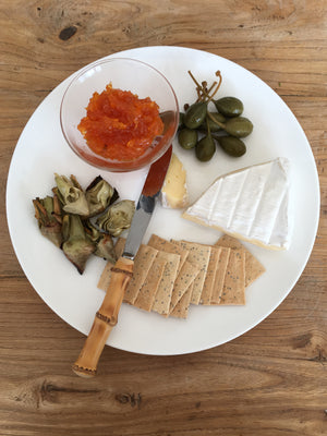 Carrot jam on cheese platter
