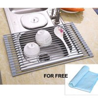 Over-the-sink Dish Drying Fold-able Rack + Free Cloth only $12.11