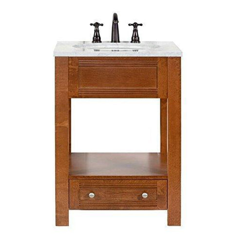 Best seller  maykke oxford 25 transitional bathroom vanity set in cinnamon marble vanity top carrara white ceramic undermount sink with 8 widespread faucet holes in white lba5024001