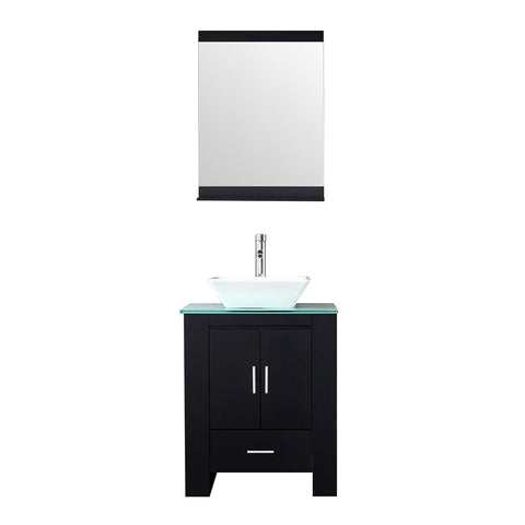 Top rated walcut 24 inch bathroom vanity and sink combo modern black mdf cabinet ceramic vessel sink with faucet and pop up drain mirror tempered glass counter top