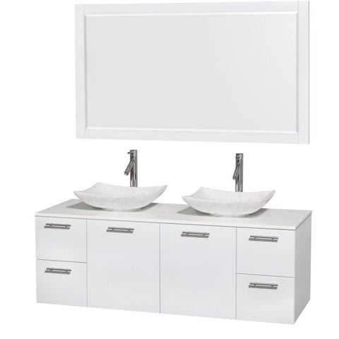 Save on wyndham collection amare 60 inch double bathroom vanity in glossy white white man made stone countertop arista white carrera marble sinks and 58 inch mirror