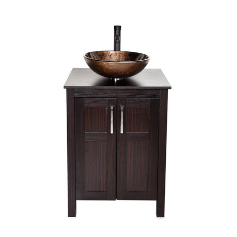 Home 24 inches traditional bathroom vanity set in dark coffee finish single bathroom vanity with top and 2 door cabinet brown glass sink top with single faucet hole