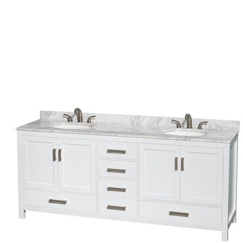 Purchase wyndham collection sheffield 80 inch double bathroom vanity in white white carrera marble countertop undermount oval sinks and no mirror