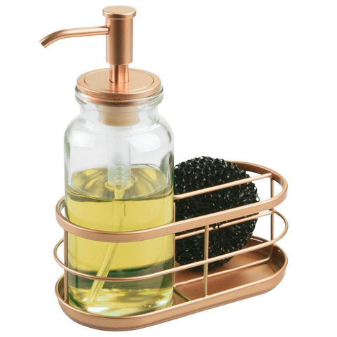 Heavy duty mdesign modern glass metal kitchen sink countertop liquid hand soap dispenser pump bottle caddy with storage compartments holds and stores sponges scrubbers and brushes clear copper