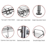 Get delite home 2 tier stainless steel over sink dish drying rack counter top dish rack dish shelf dish collector silver single groove