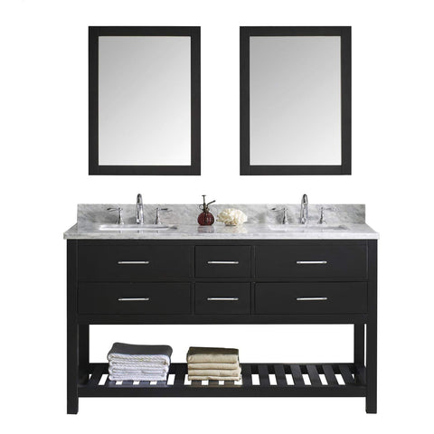 Exclusive virtu usa caroline estate 60 inch double sink bathroom vanity set in espresso w square undermount sink italian carrara white marble countertop no faucet 2 mirrors md 2260 wmsq es