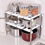 Amazon stainless steel adjustable scalable kitchen bathroom lower sink shelf storage organizer protector shelf interior
