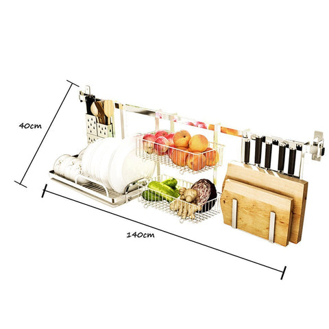 Discover shelf liners kitchen shelf stainless steel kitchen sink rack wall mount pan racks tableware drain rack basin dish rack storage rack storage organization color silver size 14040cm