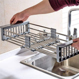 Get lxjymxkitchen storage rack multi function rack stainless steel sink single row frame telescopic drain basket dish drain rack grey