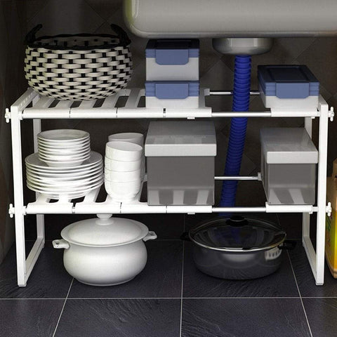 Top rated lxjymxkitchen storage rack multi function rack kitchen rack stainless steel telescopic lower sink rack multi layer storage rack floor storage rack