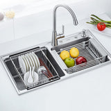 Budget yc electronics retractable stainless steel kitchen shelf vegetables basin dish rack fruit vegetable basket drain basket kitchen sink