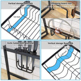 Best fnboc over the sink dish drying rack adjustable dish drainer shelf multifunctional kitchen storage organizer with utensils holder sink size 32 5in