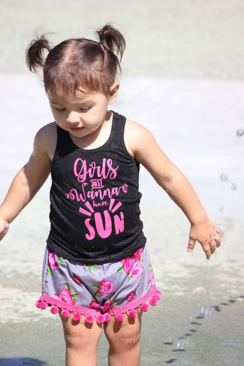 Girls Just Wanna Have Sun Tank Top -- Beach Babe Black Tank -- Sunshine Hot Pink Racerback -- Girls, Toddler, Baby Spring/Summer Shirt