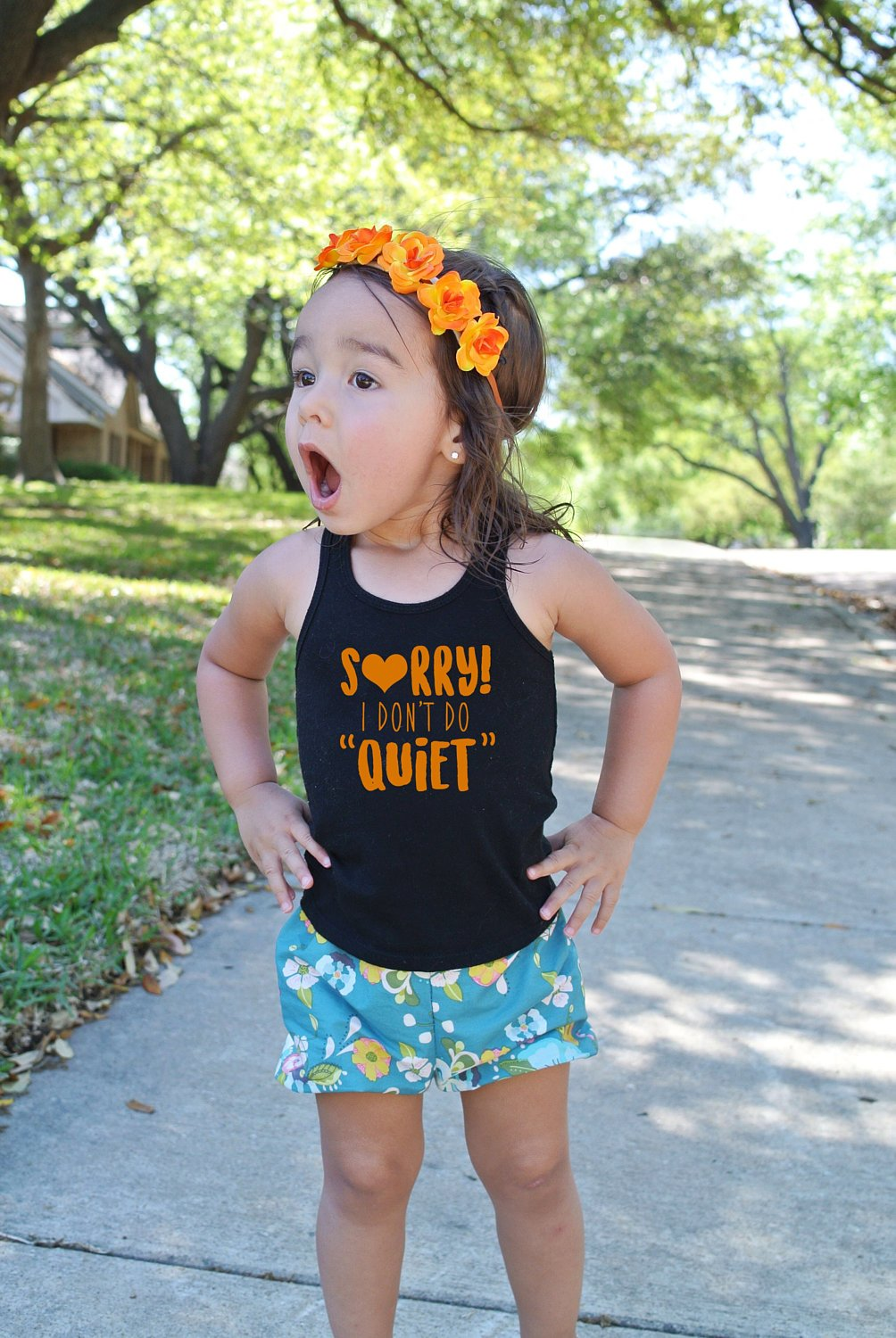 Sorry I Don't Do Quiet Tank Top -- Chatterbox Black Tank Orange, Pink, Yellow, or White - Girls, Toddler, Summer Shirt--Talkative kids, Tee