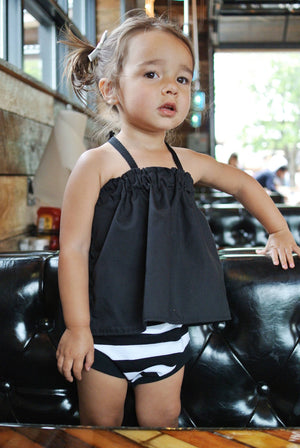 Black and White Striped Bloomers - Girls Monochrome Stripes Toddler Shorties -Kids Mint Shorts -Bummies Spring/Summer Handmade Stretchy Knit