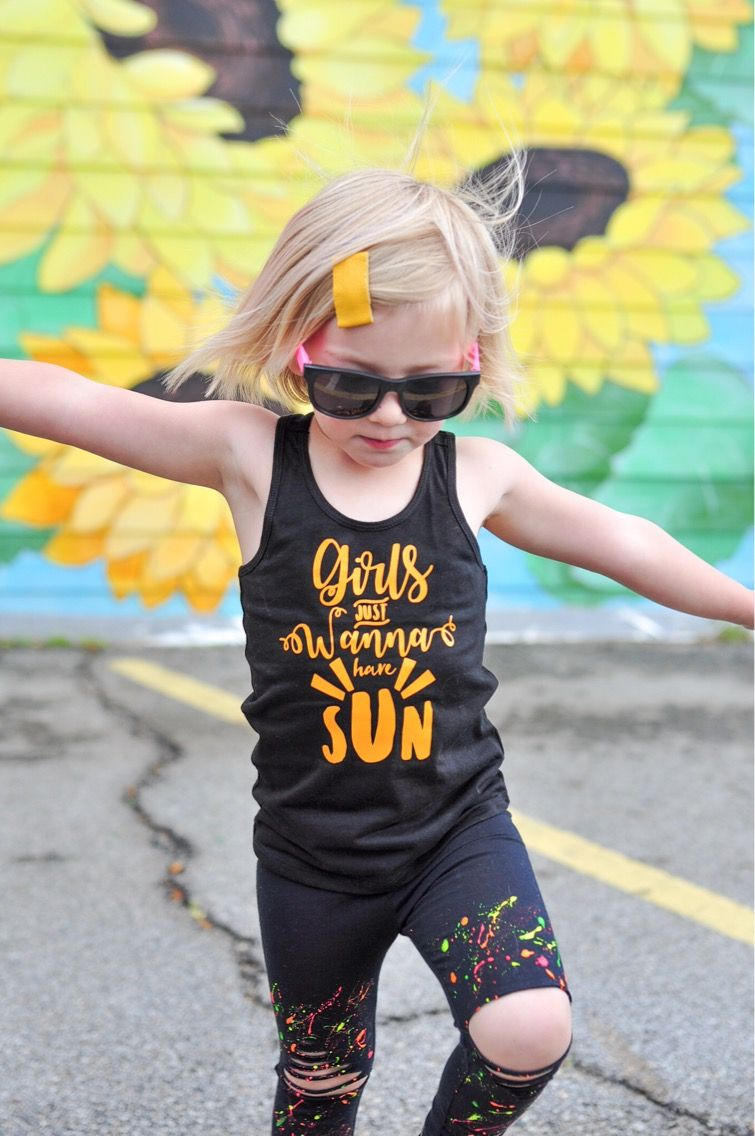 Girls Just Wanna Have Sun Tank Top -- Beach Babe Black Tank -- Sunshine Yellow and Black -- Girls, Toddler, Baby Spring/Summer Shirt
