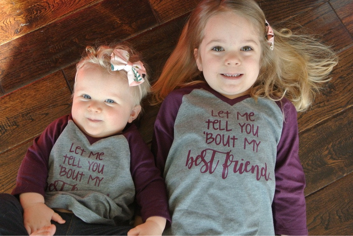 Best Friend Kids Tees - Best Friends Raglan Toddler Baby Shirts - Besties - Kids Baseball Tee - Gift - Girls Matching Maroon Shirt Tops