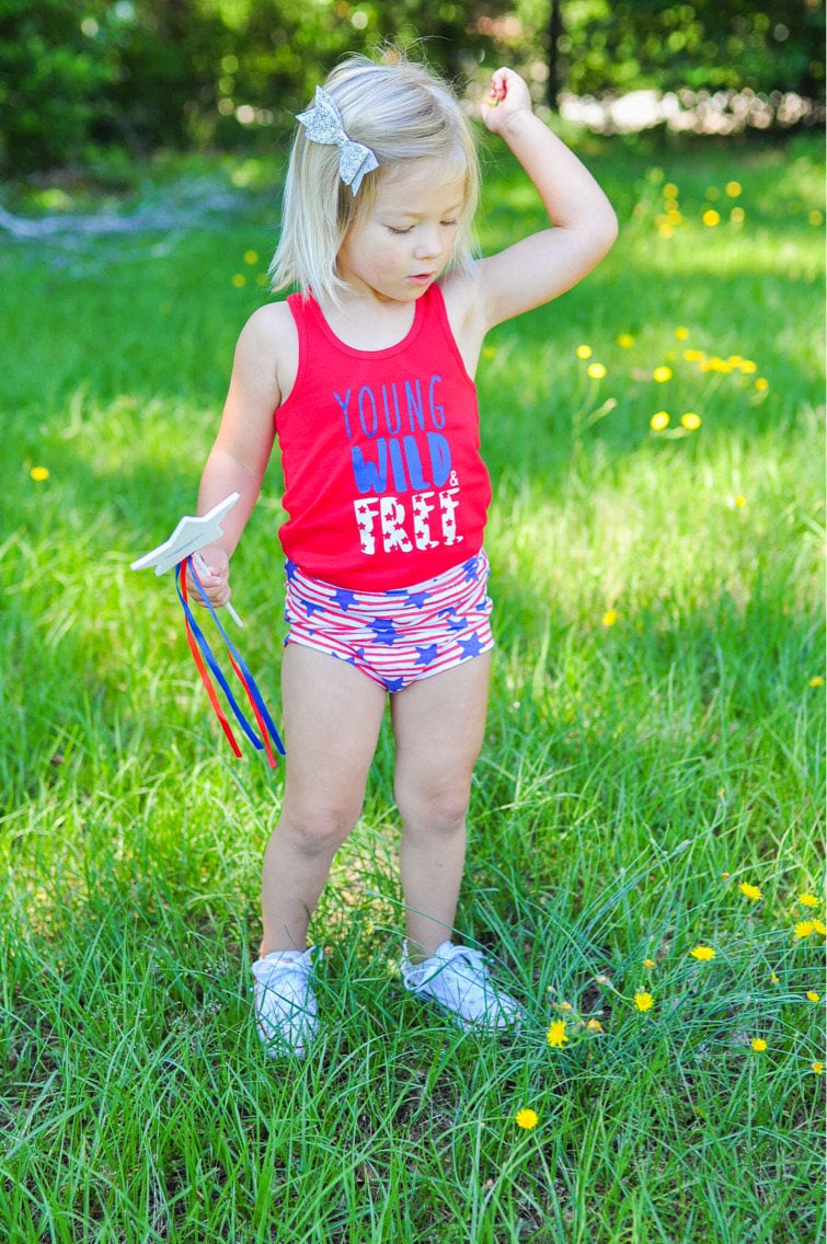 Young, Wild, & Free Red Girls Tank Top, Patriotic Racerback Shirt, Toddler Kids Red White and Blue Top, Summer, 4th of July, Stars